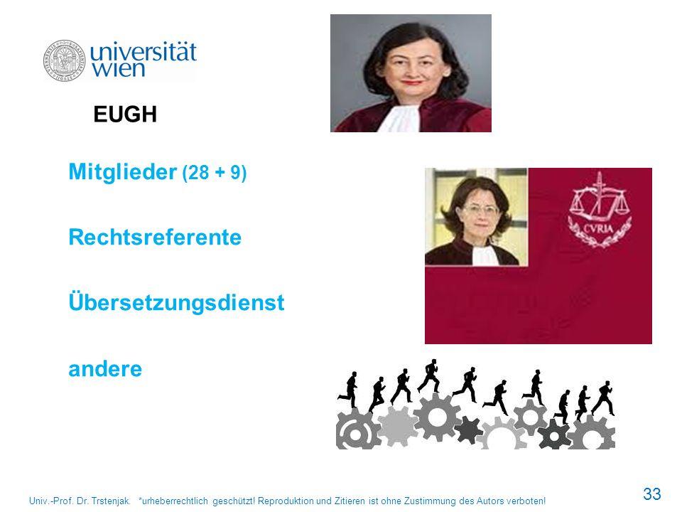 EUGH Mitglieder (28 + 9) Rechtsreferente Übersetzungsdienst andere 33 Univ.-Prof. Dr. Trstenjak. *urheberrechtlich geschützt! Reproduktion und Zitiere