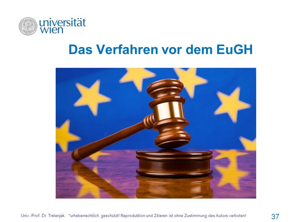 Das Verfahren vor dem EuGH Univ.-Prof. Dr. Trstenjak. *urheberrechtlich geschützt! Reproduktion und Zitieren ist ohne Zustimmung des Autors verboten!