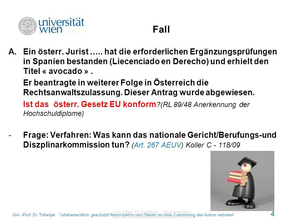 Urteile, Schlussanträge Univ.-Prof.Dr. Trstenjak.