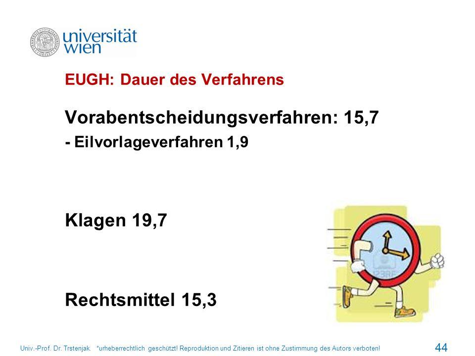 EUGH: Dauer des Verfahrens Vorabentscheidungsverfahren: 15,7 - Eilvorlageverfahren 1,9 Klagen 19,7 Rechtsmittel 15,3 44 Univ.-Prof. Dr. Trstenjak. *ur