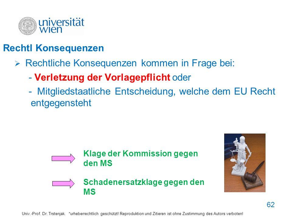 Rechtl Konsequenzen Rechtliche Konsequenzen kommen in Frage bei: - Verletzung der Vorlagepflicht oder - Mitgliedstaatliche Entscheidung, welche dem EU