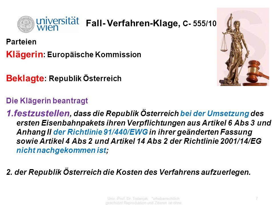 Fall- Verfahren-Klage, C- 555/10 Parteien Klägerin : Europäische Kommission Beklagte : Republik Österreich Die Klägerin beantragt 1.festzustellen, das