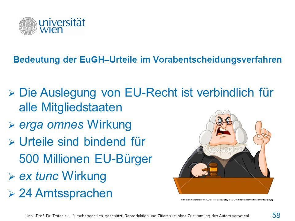 Bedeutung der EuGH–Urteile im Vorabentscheidungsverfahren Univ.-Prof. Dr. Trstenjak. *urheberrechtlich geschützt! Reproduktion und Zitieren ist ohne Z