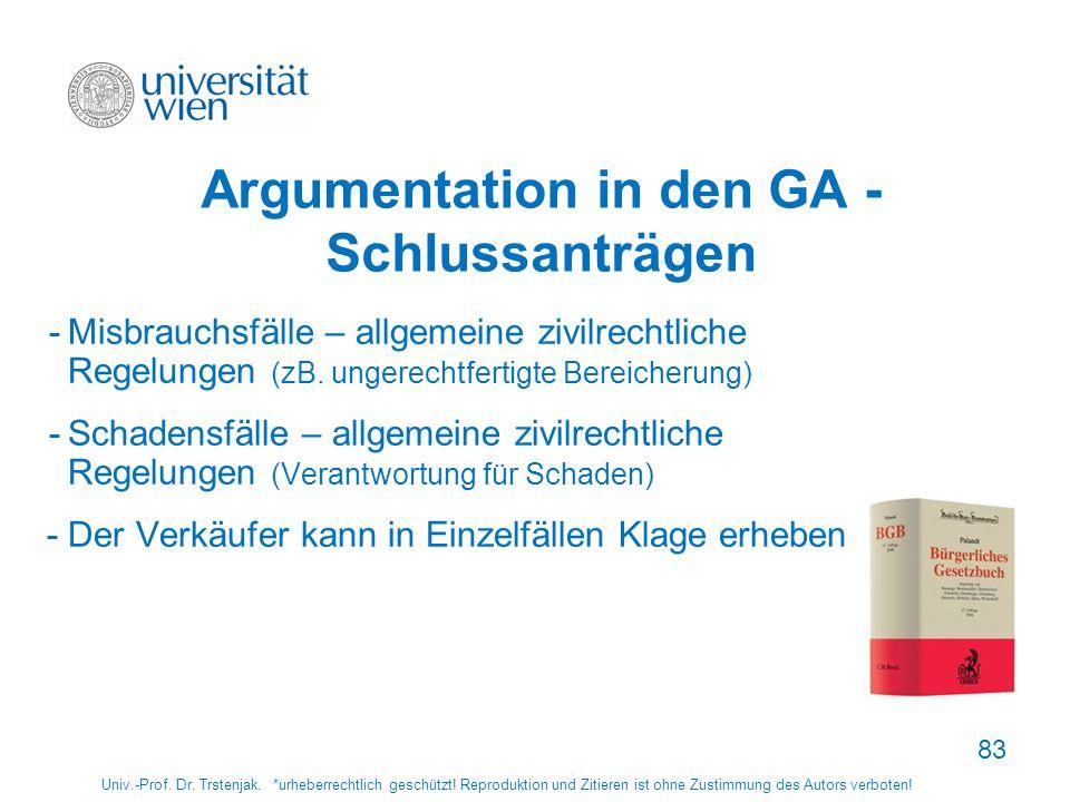 Argumentation in den GA - Schlussanträgen -Misbrauchsfälle – allgemeine zivilrechtliche Regelungen (zB. ungerechtfertigte Bereicherung) -Schadensfälle