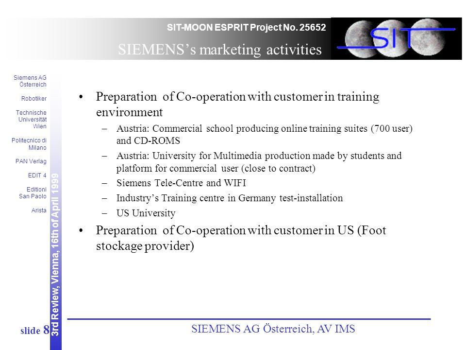 3rd Review, Vienna, 16th of April 1999 SIT-MOON ESPRIT Project No. 25652 Siemens AG Österreich Robotiker Technische Universität Wien Politecnico di Mi