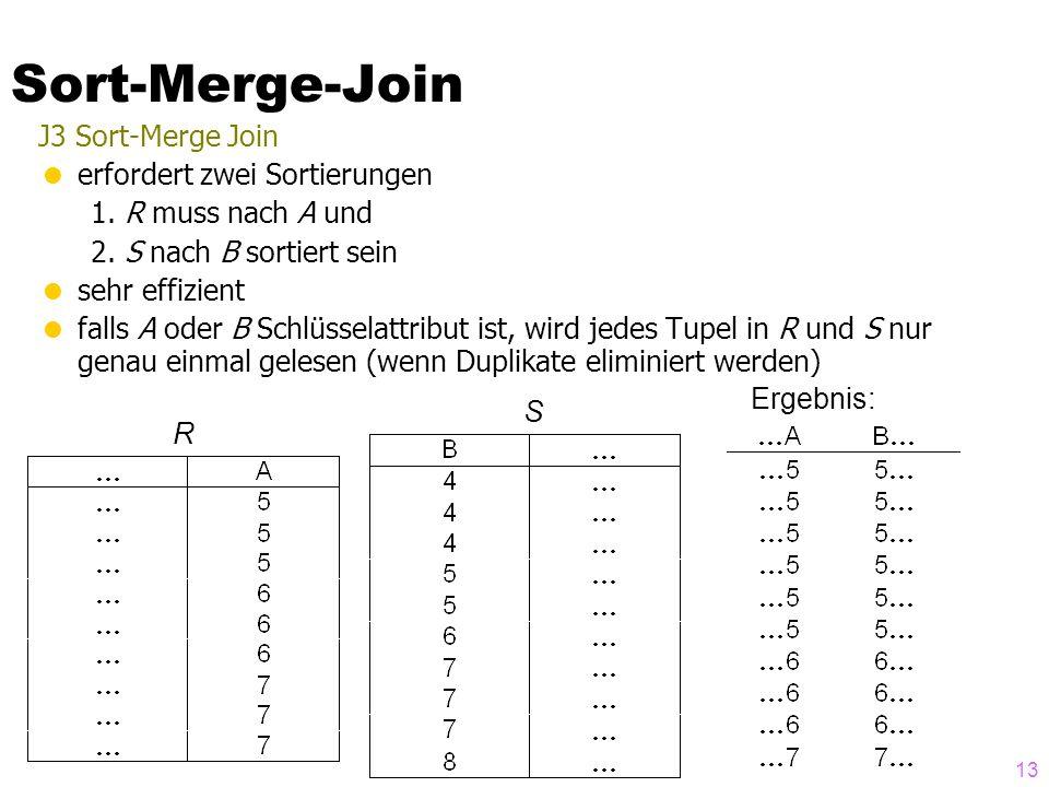13 J3 Sort-Merge Join erfordert zwei Sortierungen 1.