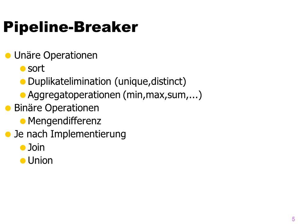 6 Beispiele: Op6Employee A DNO = Dnumber Department Op7 Department A MgrSSN = SSN Employee Zu betrachten allgemein: Implementierungs-Varianten für R A A=B S JOIN - Implementierung