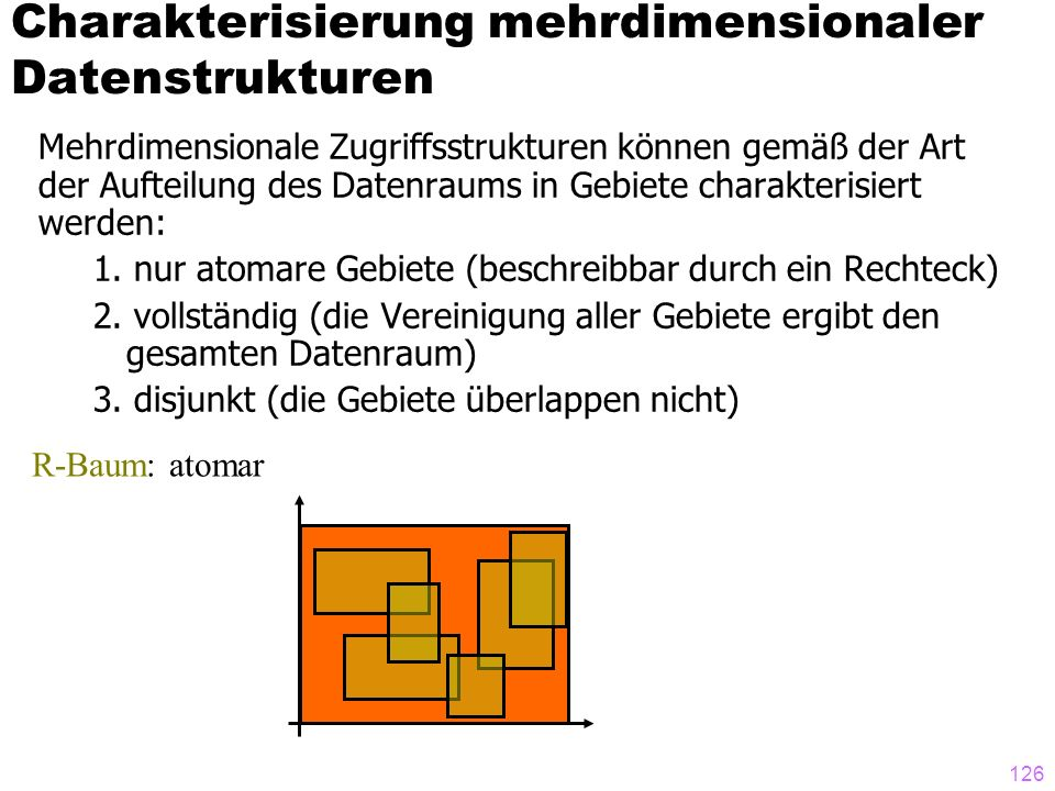126 Mehrdimensionale Zugriffsstrukturen können gemäß der Art der Aufteilung des Datenraums in Gebiete charakterisiert werden: 1. nur atomare Gebiete (