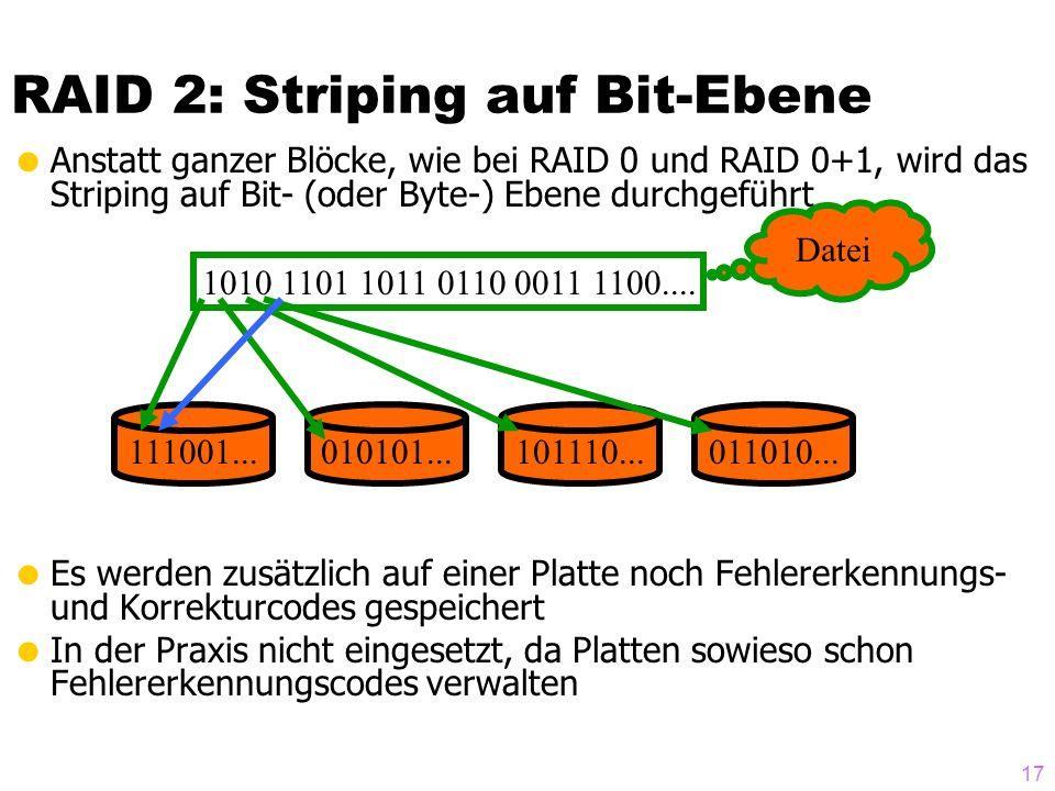 17 RAID 2: Striping auf Bit-Ebene Anstatt ganzer Blöcke, wie bei RAID 0 und RAID 0+1, wird das Striping auf Bit- (oder Byte-) Ebene durchgeführt Es werden zusätzlich auf einer Platte noch Fehlererkennungs- und Korrekturcodes gespeichert In der Praxis nicht eingesetzt, da Platten sowieso schon Fehlererkennungscodes verwalten 1010 1101 1011 0110 0011 1100....