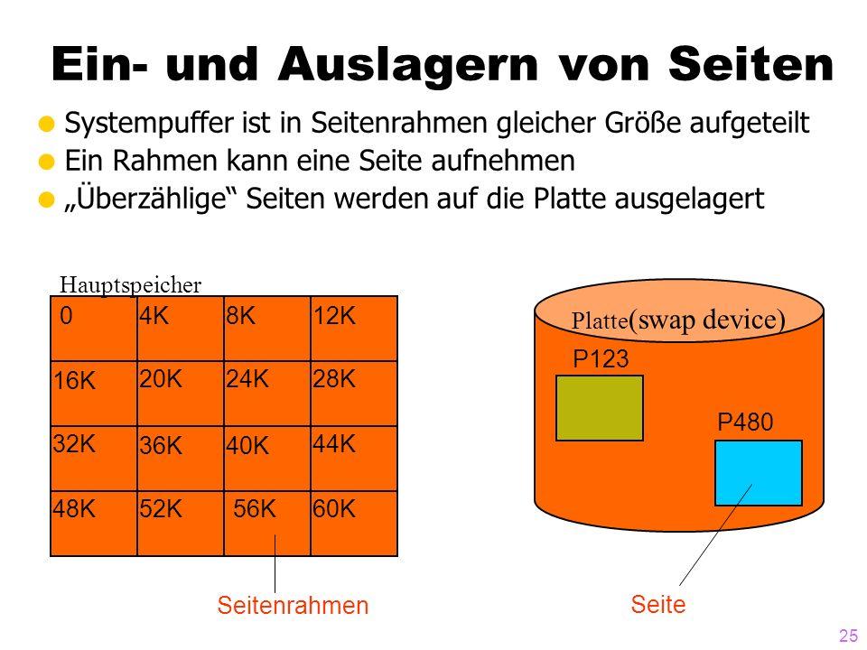 25 Ein- und Auslagern von Seiten Systempuffer ist in Seitenrahmen gleicher Größe aufgeteilt Ein Rahmen kann eine Seite aufnehmen Überzählige Seiten werden auf die Platte ausgelagert Platte (swap device) Hauptspeicher 04K8K12K 28K 44K 60K 40K 48K 24K20K 16K 32K 36K 56K52K P480 P123 Seitenrahmen Seite