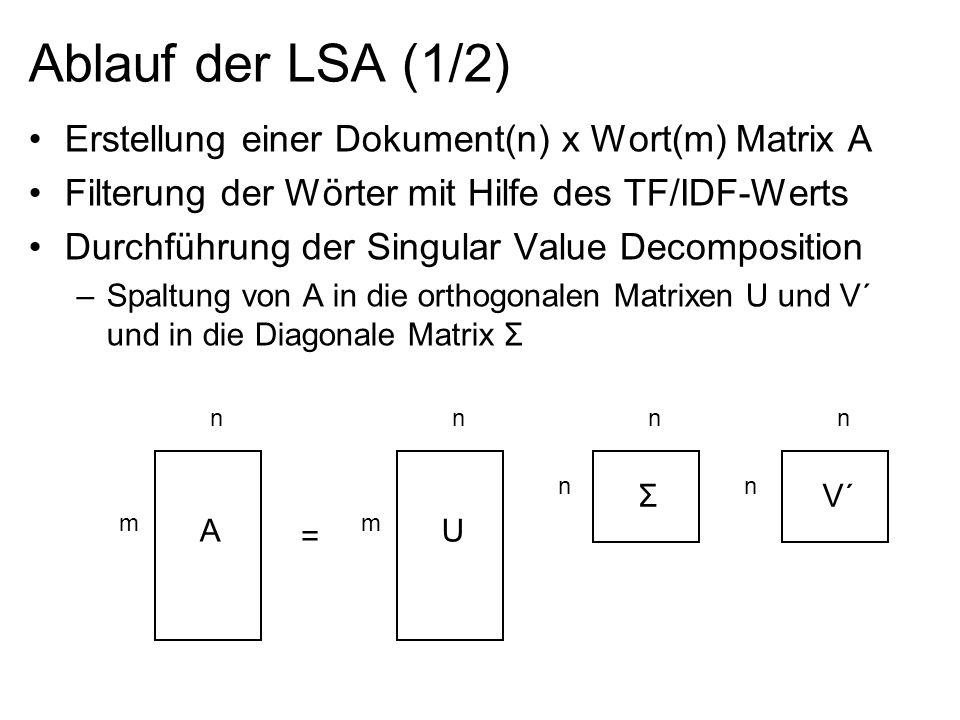 Ablauf der LSA (1/2) Erstellung einer Dokument(n) x Wort(m) Matrix A Filterung der Wörter mit Hilfe des TF/IDF-Werts Durchführung der Singular Value D