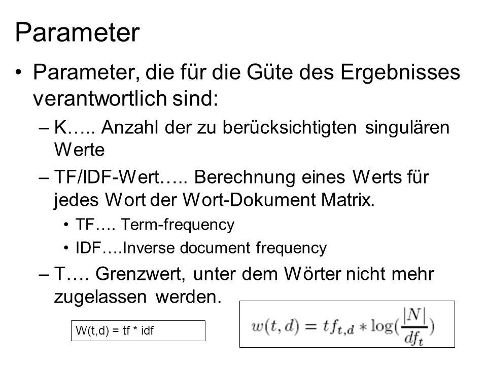Parameter Parameter, die für die Güte des Ergebnisses verantwortlich sind: –K….. Anzahl der zu berücksichtigten singulären Werte –TF/IDF-Wert….. Berec