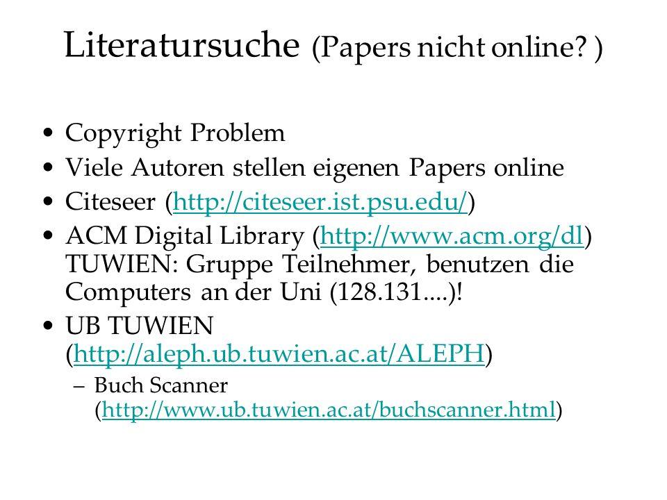 Literatursuche (Papers nicht online.