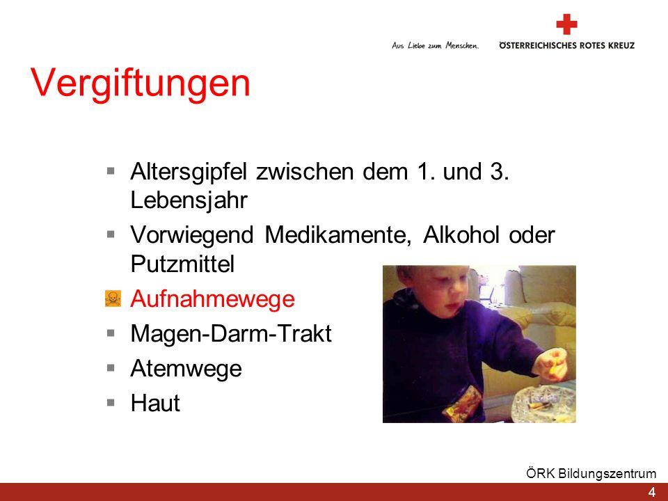 4 ÖRK Bildungszentrum Vergiftungen Altersgipfel zwischen dem 1. und 3. Lebensjahr Vorwiegend Medikamente, Alkohol oder Putzmittel Aufnahmewege Magen-D