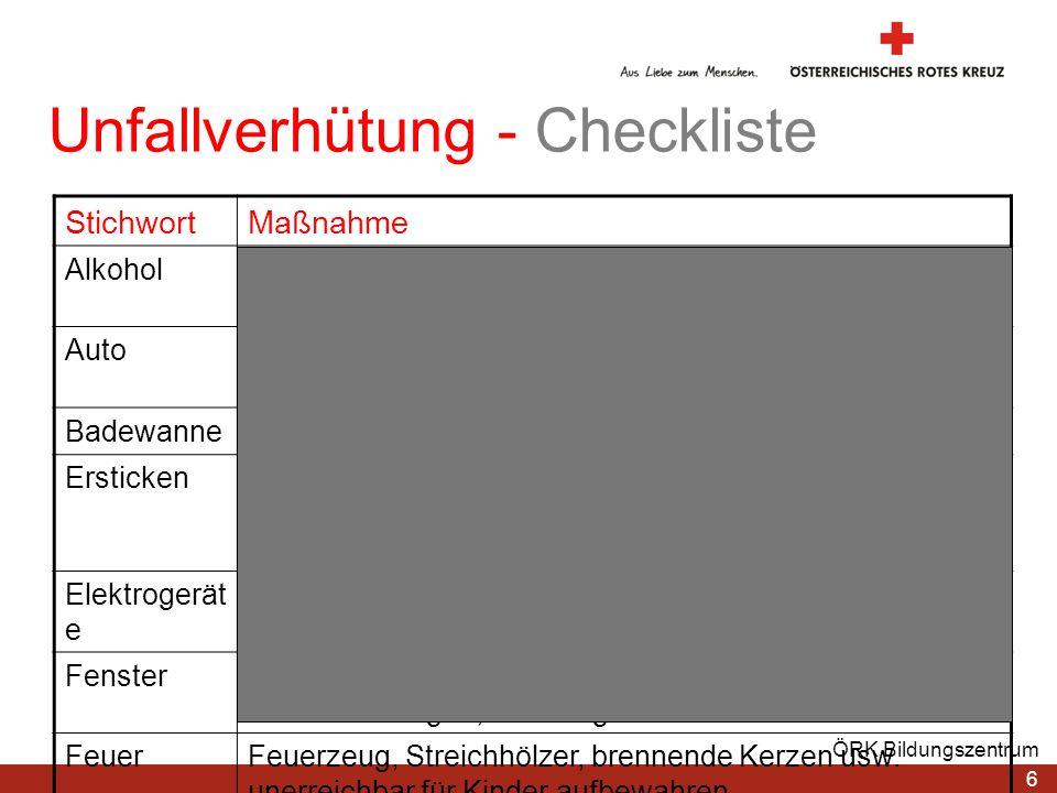 6 ÖRK Bildungszentrum Unfallverhütung - Checkliste StichwortMaßnahme AlkoholAlkoholische Getränke unerreichbar für Kinder aufbewahren AutoKindersitz n