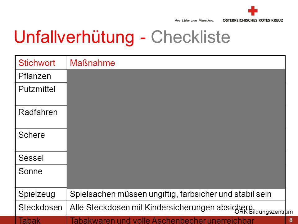 8 ÖRK Bildungszentrum Unfallverhütung - Checkliste StichwortMaßnahme PflanzenGiftige Pflanzen und Sträucher außer Reichweite PutzmittelNur in verschli