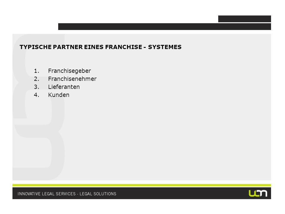 TYPISCHE PARTNER EINES FRANCHISE - SYSTEMES 1.Franchisegeber 2.Franchisenehmer 3.Lieferanten 4.Kunden