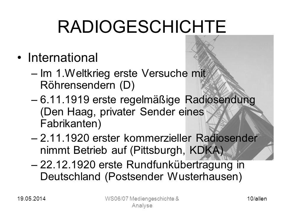 19.05.2014WS06/07 Mediengeschichte & Analyse 9/allen FUNKTECHNIK Röhre –Oscillation Valve (Vaccumdiode) John Ambrose Fleming (UK, 1904) –Audion (Triod