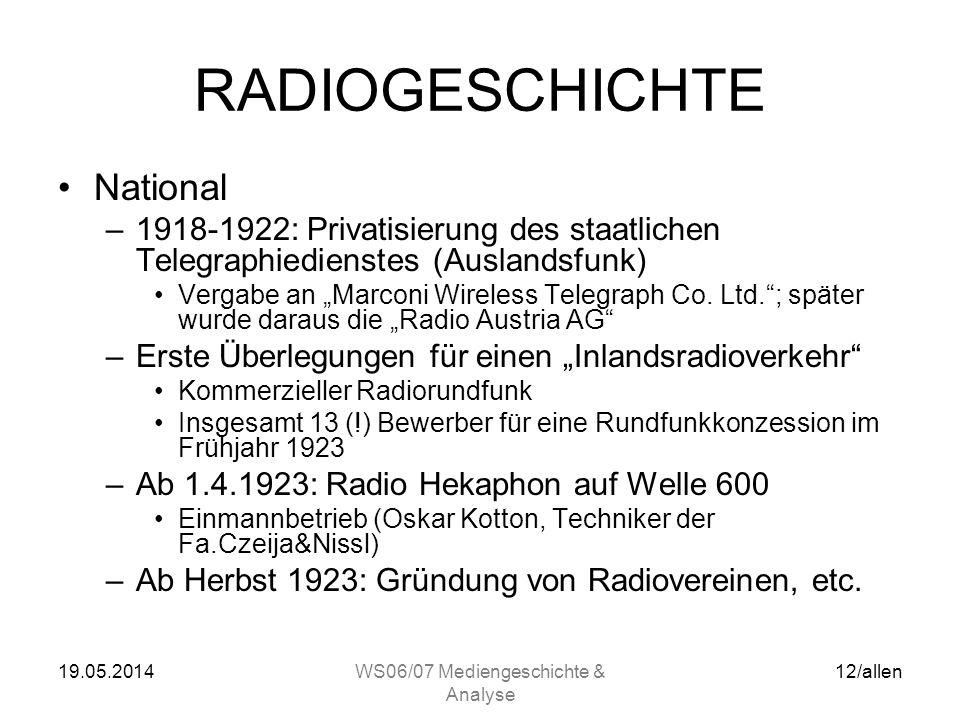 19.05.2014WS06/07 Mediengeschichte & Analyse 11/allen RADIOGESCHICHTE National –1904 erste Rundfunkübertragungen in Graz durch Prof. Otto Nußbaumer (a