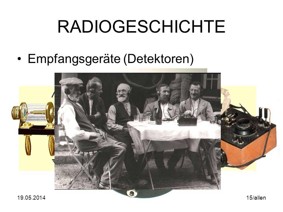 19.05.2014WS06/07 Mediengeschichte & Analyse 14/allen RADIOGESCHICHTE 30.9.1924: Oskar Czeija wird erster Generaldirektor der RAVAG 1.10.1924 Aufnahme