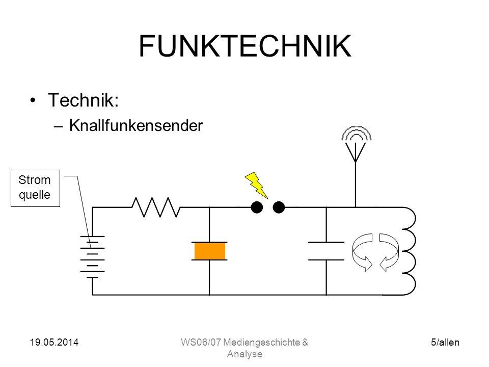 19.05.2014WS06/07 Mediengeschichte & Analyse 5/allen FUNKTECHNIK Technik: –Knallfunkensender Strom quelle
