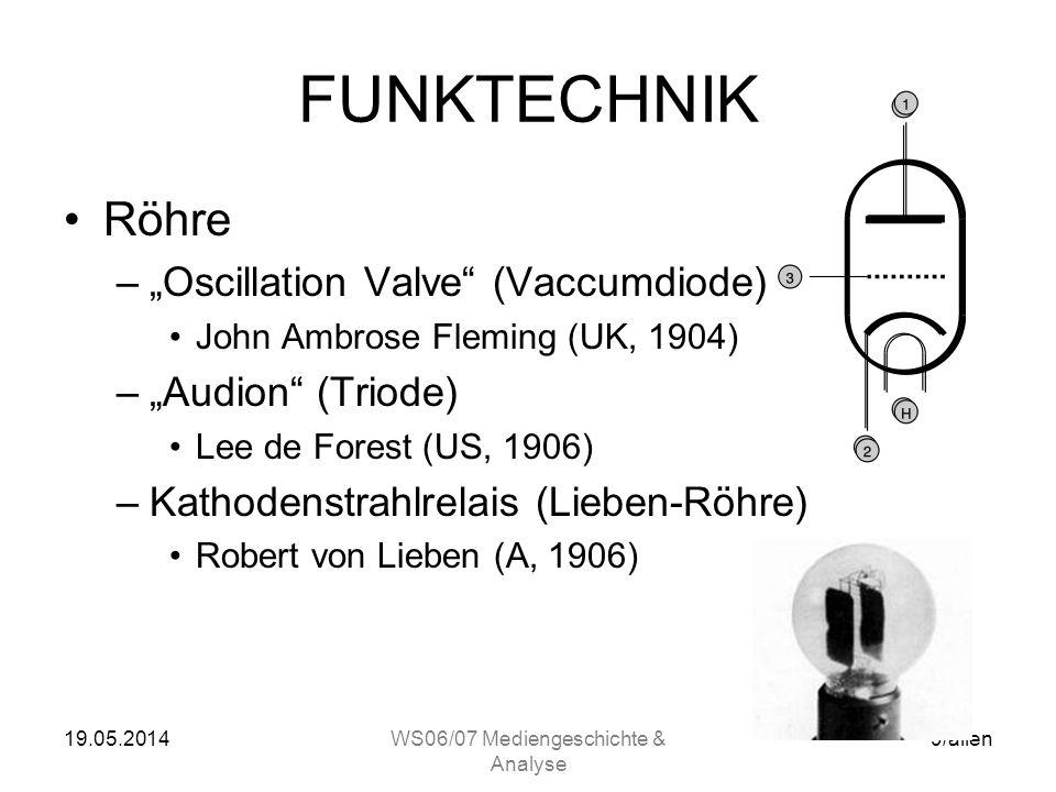 19.05.2014WS06/07 Mediengeschichte & Analyse 9/allen FUNKTECHNIK Röhre –Oscillation Valve (Vaccumdiode) John Ambrose Fleming (UK, 1904) –Audion (Triode) Lee de Forest (US, 1906) –Kathodenstrahlrelais (Lieben-Röhre) Robert von Lieben (A, 1906)