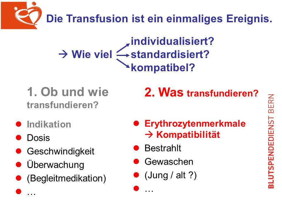 1.Ob und wie transfundieren. Indikation Dosis Geschwindigkeit Überwachung (Begleitmedikation) … 2.