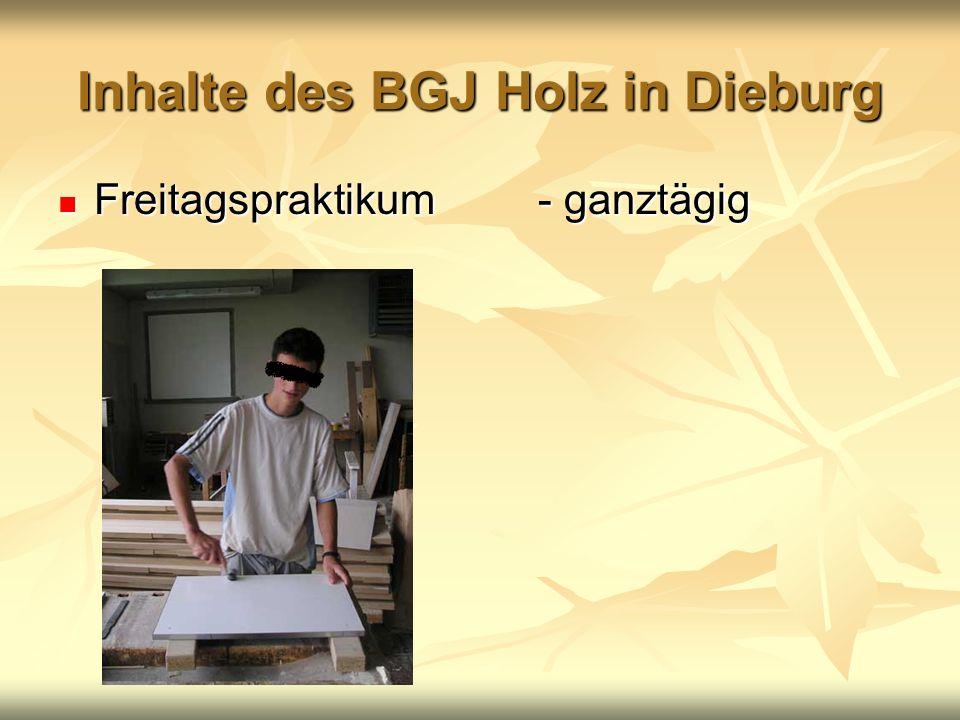 Inhalte des BGJ Holz in Dieburg Freitagspraktikum- ganztägig Freitagspraktikum- ganztägig
