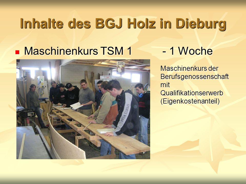 Inhalte des BGJ Holz in Dieburg Maschinenkurs TSM 1 - 1 Woche Maschinenkurs TSM 1 - 1 Woche Maschinenkurs der Berufsgenossenschaft mit Qualifikationse