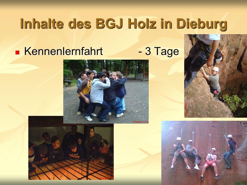 Inhalte des BGJ Holz in Dieburg Kennenlernfahrt - 3 Tage Kennenlernfahrt - 3 Tage