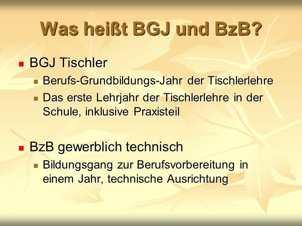 Was heißt BGJ und BzB? BGJ Tischler BGJ Tischler Berufs-Grundbildungs-Jahr der Tischlerlehre Berufs-Grundbildungs-Jahr der Tischlerlehre Das erste Leh