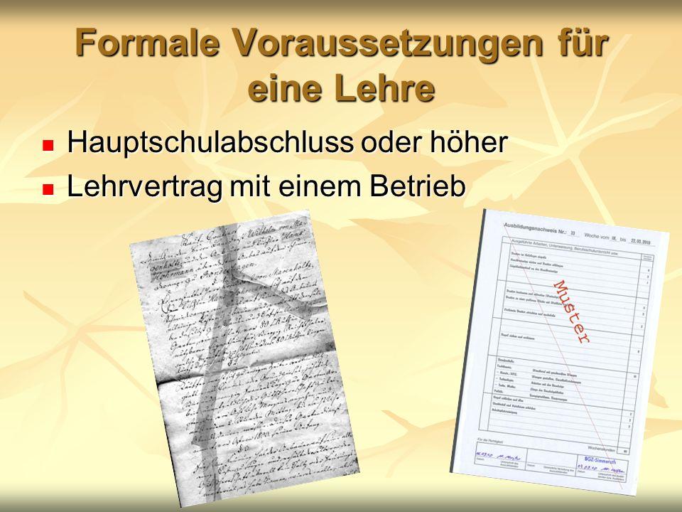 Formale Voraussetzungen für eine Lehre Hauptschulabschluss oder höher Hauptschulabschluss oder höher Lehrvertrag mit einem Betrieb Lehrvertrag mit einem Betrieb