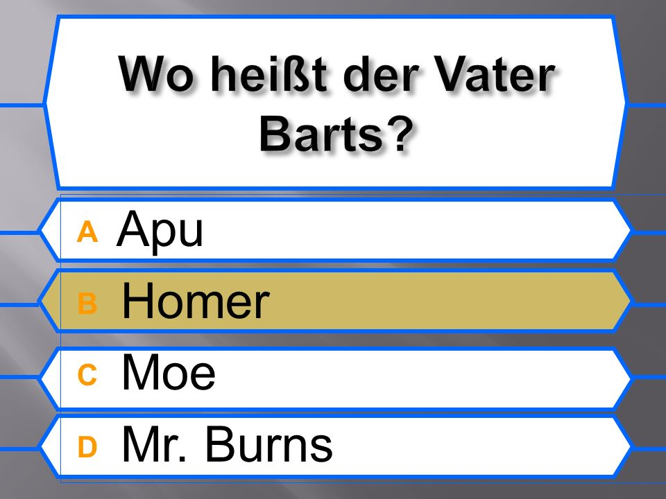 A Apu B Homer C Moe D Mr. Burns