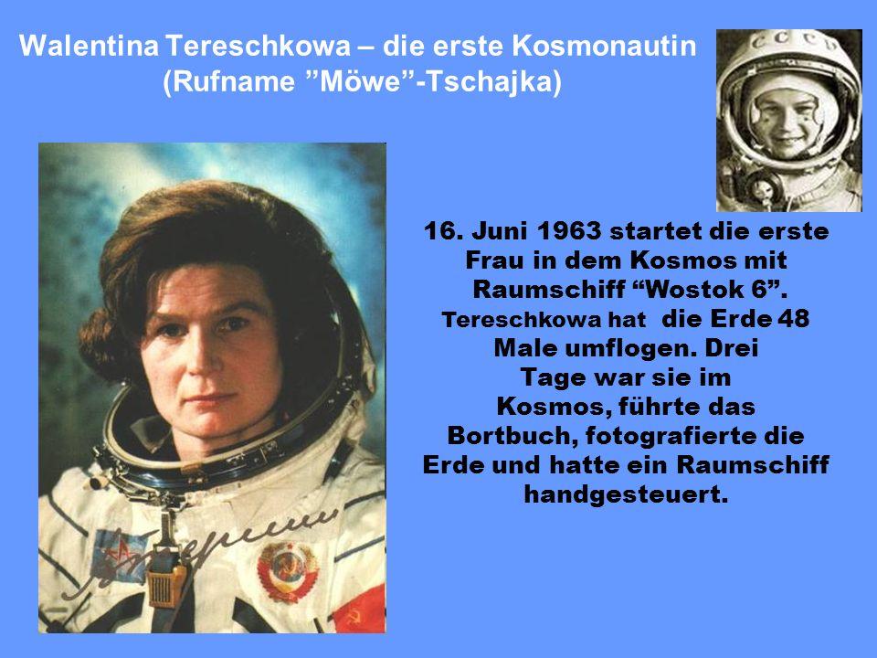 Der erste Mensch im Kosmos. Am 12. April 1961 wurde im Ruβland zum erstenmal in der Geschihte der Menschheit ein bemanntes Raumschiff auf eine Umlaufb