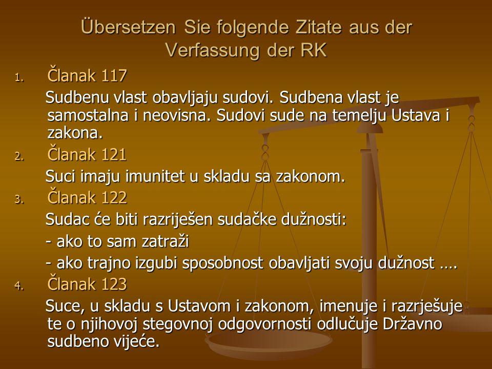 Übersetzen Sie folgende Zitate aus der Verfassung der RK 1.