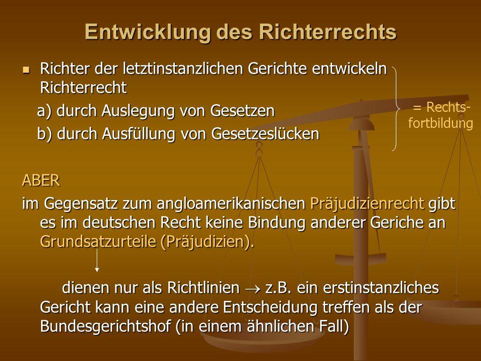 Entwicklung des Richterrechts Richter der letztinstanzlichen Gerichte entwickeln Richterrecht Richter der letztinstanzlichen Gerichte entwickeln Richterrecht a) durch Auslegung von Gesetzen a) durch Auslegung von Gesetzen b) durch Ausfüllung von Gesetzeslücken b) durch Ausfüllung von GesetzeslückenABER im Gegensatz zum angloamerikanischen Präjudizienrecht gibt es im deutschen Recht keine Bindung anderer Geriche an Grundsatzurteile (Präjudizien).