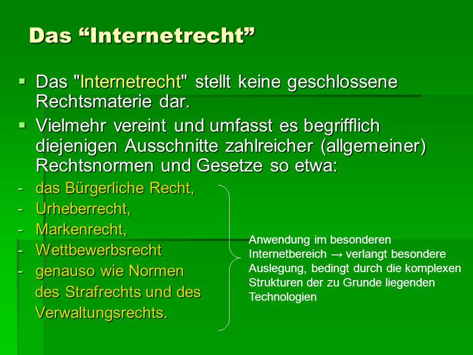 Das Internetrecht Das