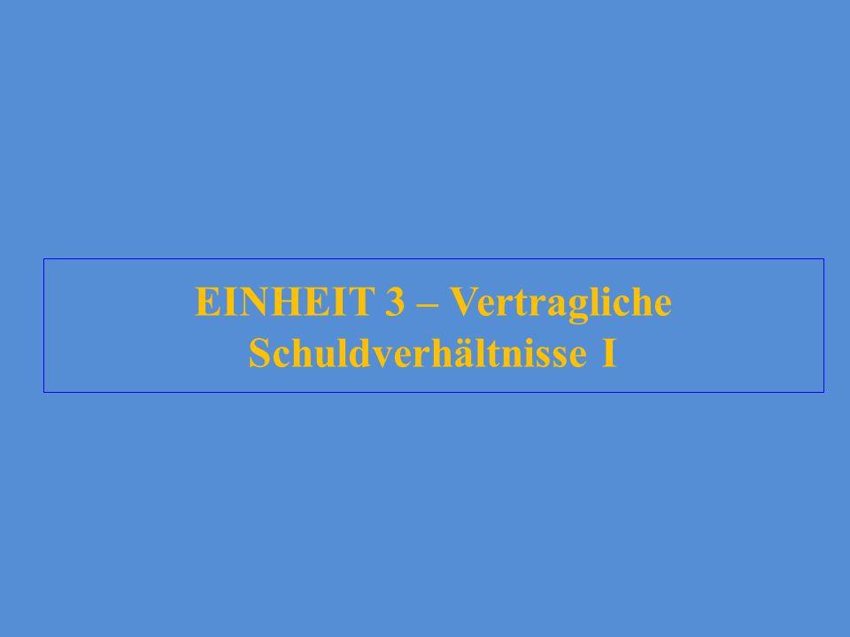 EINHEIT 3 – Vertragliche Schuldverhältnisse I