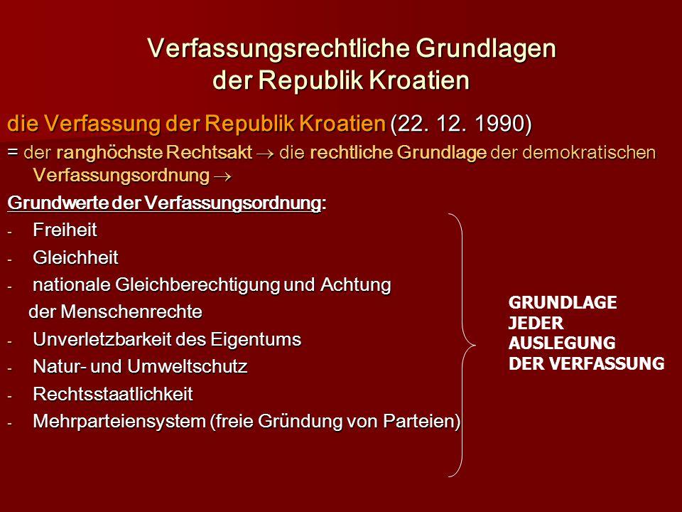 Verfassungsrechtliche Grundlagen der Republik Kroatien Verfassungsrechtliche Grundlagen der Republik Kroatien die Verfassung der Republik Kroatien (22