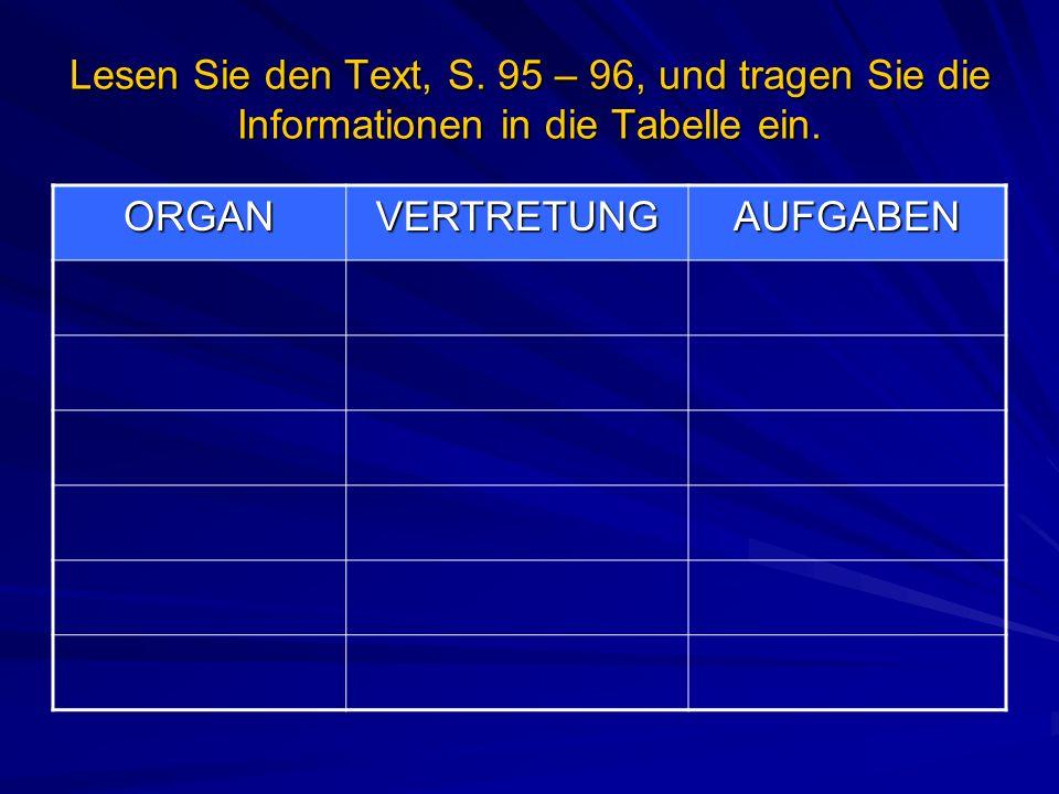 Lesen Sie den Text, S. 95 – 96, und tragen Sie die Informationen in die Tabelle ein. ORGANVERTRETUNGAUFGABEN
