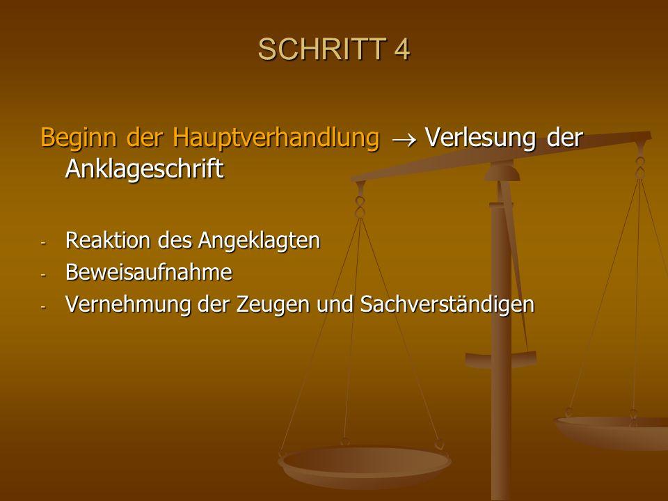 SCHRITT 4 Beginn der Hauptverhandlung Verlesung der Anklageschrift - Reaktion des Angeklagten - Beweisaufnahme - Vernehmung der Zeugen und Sachverstän