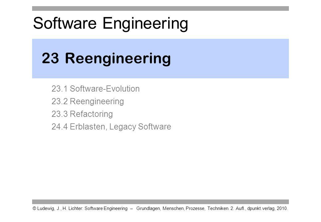 Vorgehensweise - 1 Reengineering muss immer dann durchgeführt werden, wenn man die Software weder unverändert weiternutzen noch komplett wegwerfen und ersetzen kann oder will.