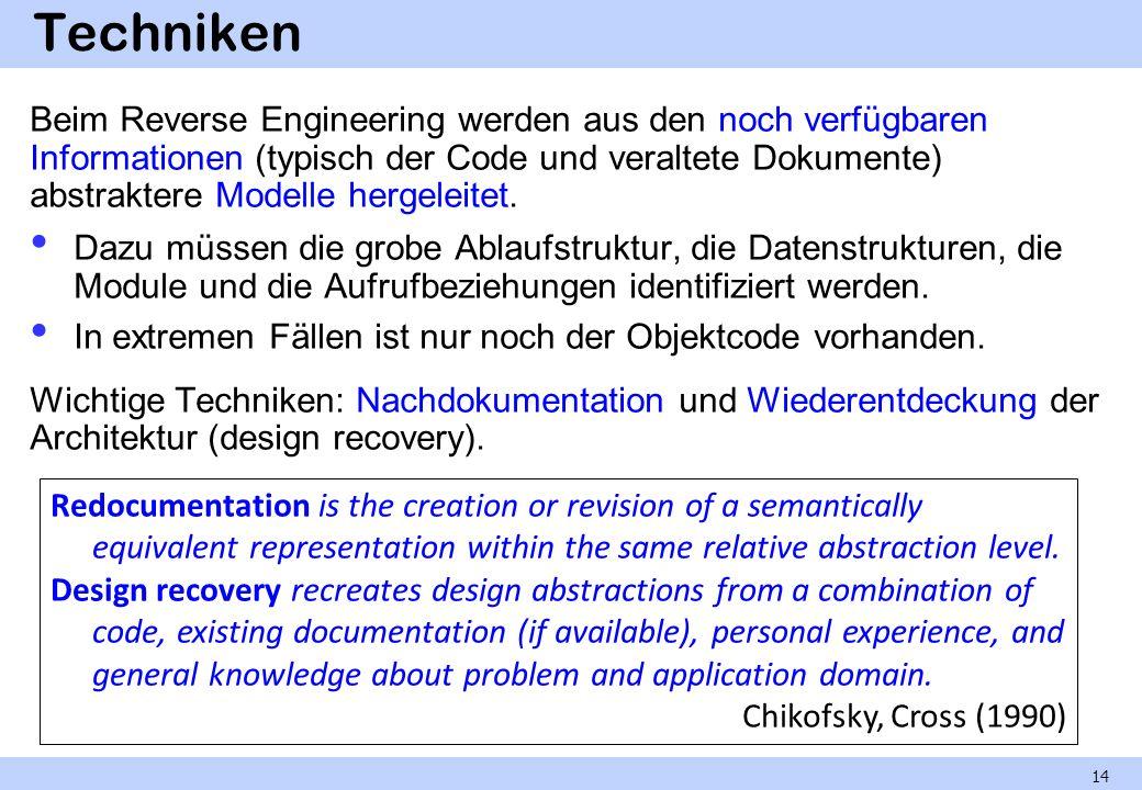 Techniken Beim Reverse Engineering werden aus den noch verfügbaren Informationen (typisch der Code und veraltete Dokumente) abstraktere Modelle hergel