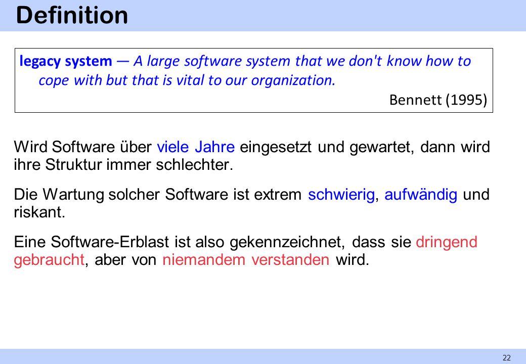 Definition Wird Software über viele Jahre eingesetzt und gewartet, dann wird ihre Struktur immer schlechter. Die Wartung solcher Software ist extrem s