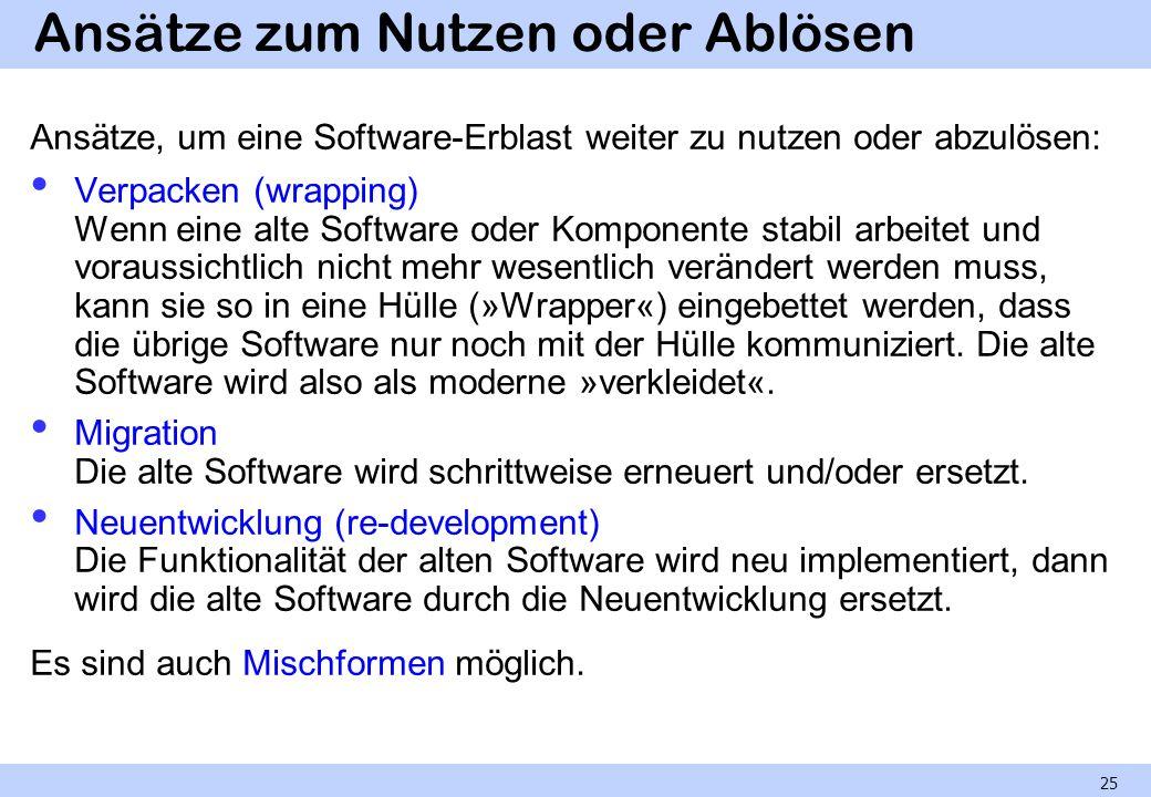 Ansätze zum Nutzen oder Ablösen Ansätze, um eine Software-Erblast weiter zu nutzen oder abzulösen: Verpacken (wrapping) Wenn eine alte Software oder K