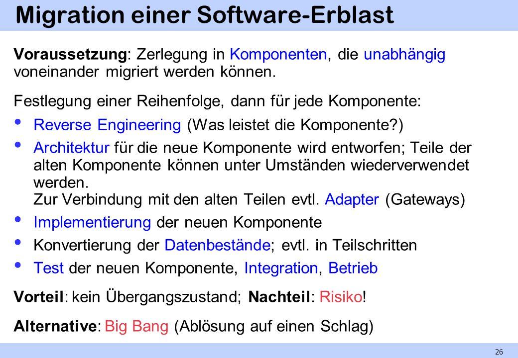 Migration einer Software-Erblast Voraussetzung: Zerlegung in Komponenten, die unabhängig voneinander migriert werden können. Festlegung einer Reihenfo
