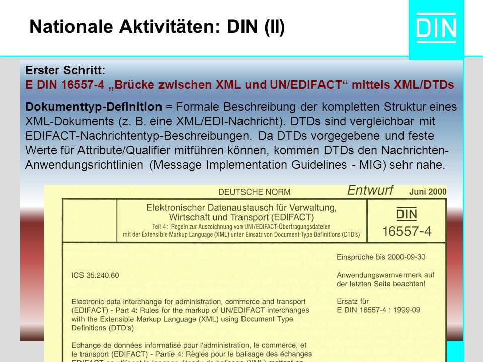 Erster Schritt: E DIN 16557-4 Brücke zwischen XML und UN/EDIFACT mittels XML/DTDs Dokumenttyp-Definition = Formale Beschreibung der kompletten Struktur eines XML-Dokuments (z.