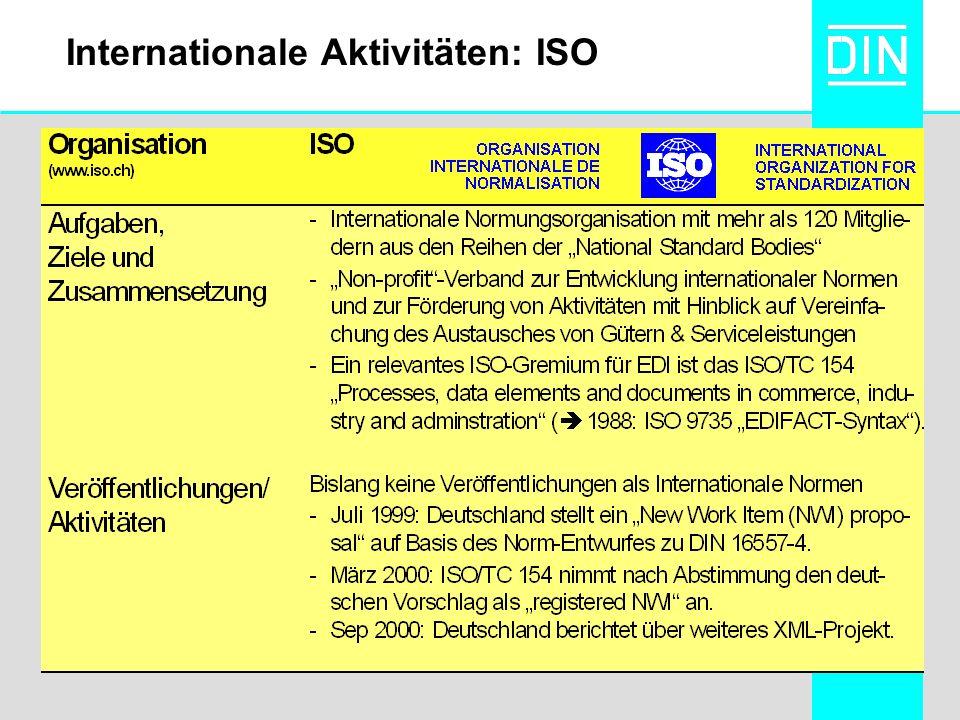 Internationale Aktivitäten: ISO