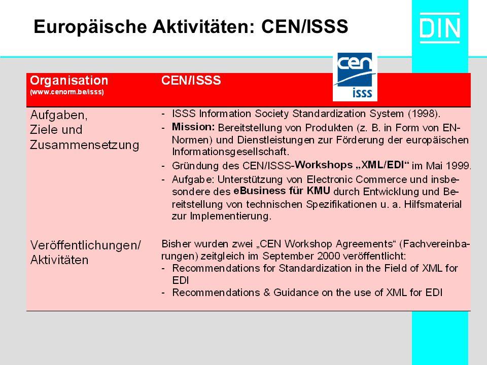 Europäische Aktivitäten: CEN/ISSS