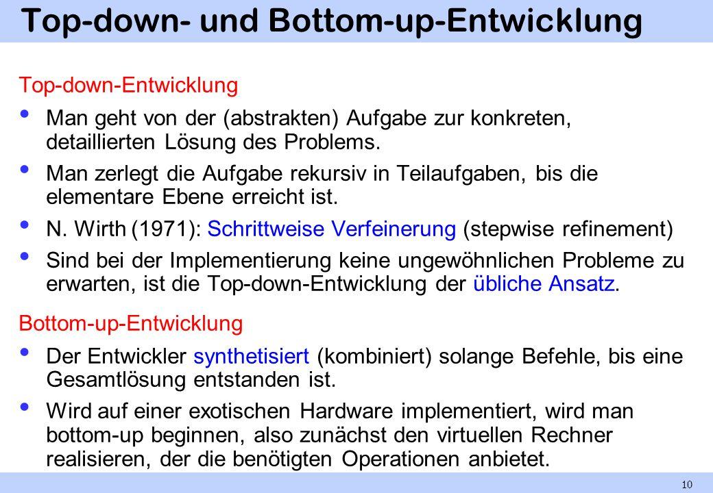 Top-down- und Bottom-up-Entwicklung Top-down-Entwicklung Man geht von der (abstrakten) Aufgabe zur konkreten, detaillierten Lösung des Problems. Man z